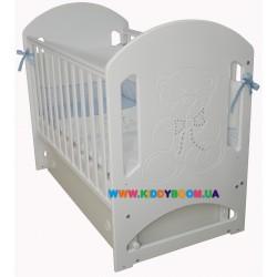 """Детская кровать Верес """"Соня ЛД8"""" белая, декор мишка со стразами 08.1.1.3.06"""