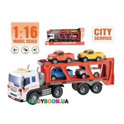 Фрикционная машинка Wenyi грузовик-автовоз со светом и звуком WY572А