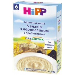 Молочная каша «5 злаков с черносливом» с пребиотиками (с 6 мес.) 250 гр Hipp