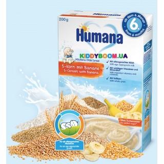Каша молочная 5 злаков с бананом Humana с 6-ти мес. (200 г)