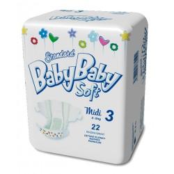 Подгузники BabyBaby Soft Стандарт Midi 3 ( 4-9 кг) 22 шт.
