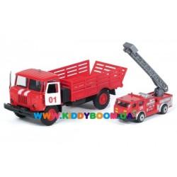 Автомодель ГАЗ-66 с пожарной машиной 1:43 Технопарк CT-1299+В3W