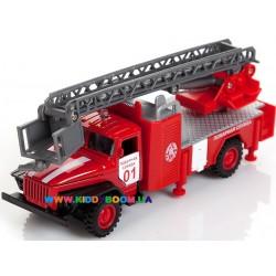 Автомодель УРАЛ Пожарная машина со стрелой 1:43 Технопарк CT10-100-1
