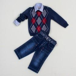 Комплект джинсы, рубашка, джемпер BomBili 3278