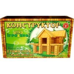 Деревянный конструктор Домик с мансардой