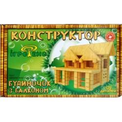 Деревянный детский конструктор Домик с балконом