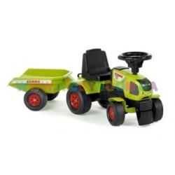 Трактор-каталка Claas AXOS зеленый с прицепом Falk 1012B