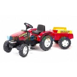Велотрактор Farm Power Max красный с прицепом Falk 1021B