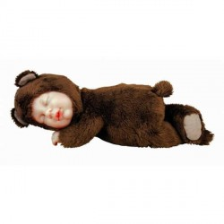 Кукла-мишка спящая темно-коричневая 23см (579104-AG) Anne Geddes