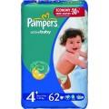 Подгузники Pampers Active Baby 4+ maxi Plus (9-20 кг)  62 шт