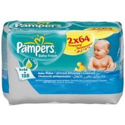 Салфетки Pampers увлажненные Baby fresh + алое 2 уп. 64 шт.