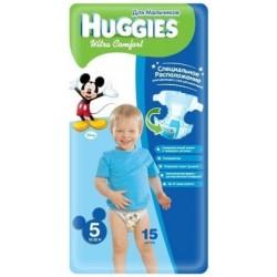 Подгузники для мальчика Huggies Ultra Comfort 5 (12-22 кг) 15 шт.