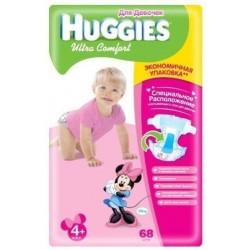 Подгузники для девочки Huggies Ultra Comfort 4+ (10-16 кг) 68 шт.