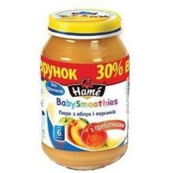Пюре Hame Яблоко и персик с пребиотиком (с 6 мес.) 190 гр.