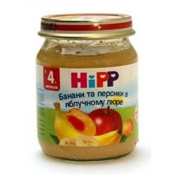 Пюре Hipp Бананы и персики в яблочном пюре (с 4 мес.) 125 гр.