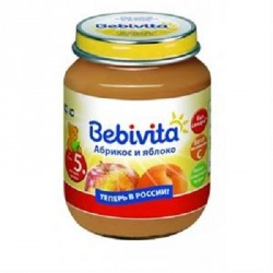 Пюре Bebivita абрикос и яблоко (с 5 мес.) 100 гр.