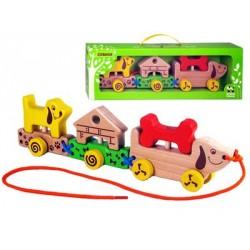 Паровозик-каталка Собаки Зеленая игрушка 51734