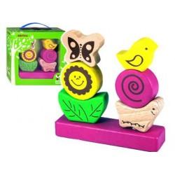Пирамидка маленькая Цветочек Зеленая игрушка