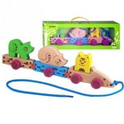 Паровозик-каталка Котики Зеленая игрушка