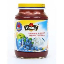Пюре Hame яблоко и черника с творогом (c 6 мес.) 190 гр.