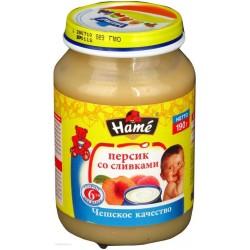 Пюре Hame яблоко персик со сливками (c 6 мес.) 190 гр.