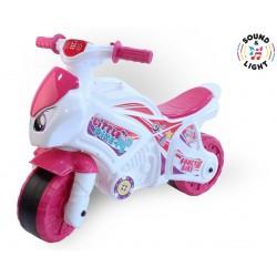 Беговел-мотоцикл бело - розовый Технок 6368